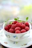 A bowl of fresh raspberries