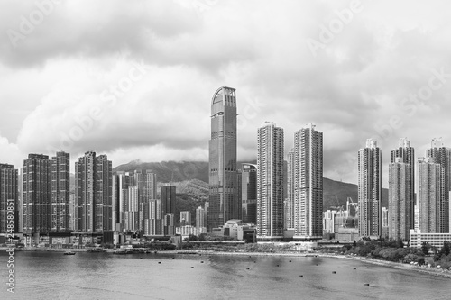 fototapeta na ścianę Panorama of harbor and skyline of Hong Kong city