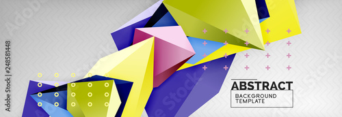 Bright colorful triangular poly 3d composition, abstract geometric background, minimal design, polygonal futuristic poster template - 248581448