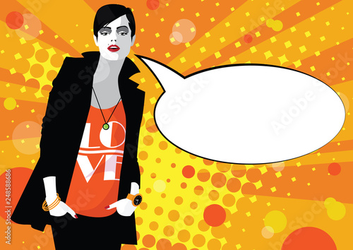 A frame from comic book with fashion woman in style Pop art. © Yevhen