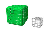 Abstract polygonal cube with cuts. 3d Vector illustration. - 248590215