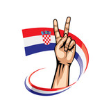 Croatia flag and hand on white background. Vector illustration
