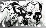 skull and fire hot danger background