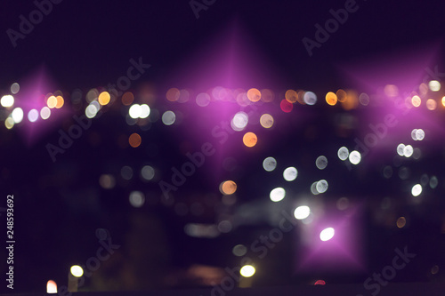 colorful night light in the city, image blur nightlife background - 248593692