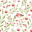 Birds, hearts, flowers and twigs. Watercolor flower pattern. - 248597629