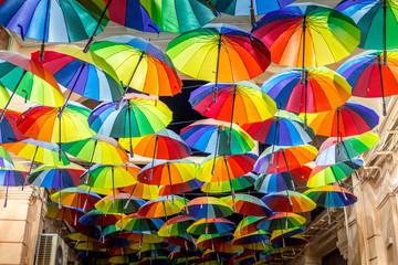 Decorative umbrellas in the streets of Bucharest, Romania