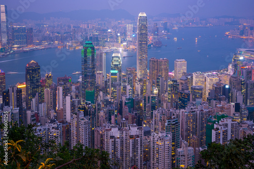 obraz PCV Hong Kong city skyline day to night