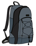 The vectorized hand darwing of a gray and black travel backpack - 248600436
