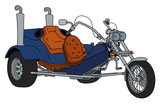 The hand drawing of a blue heavy motor tricycle