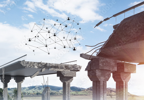 Damaged stone bridge as idea for problem and social connection concept