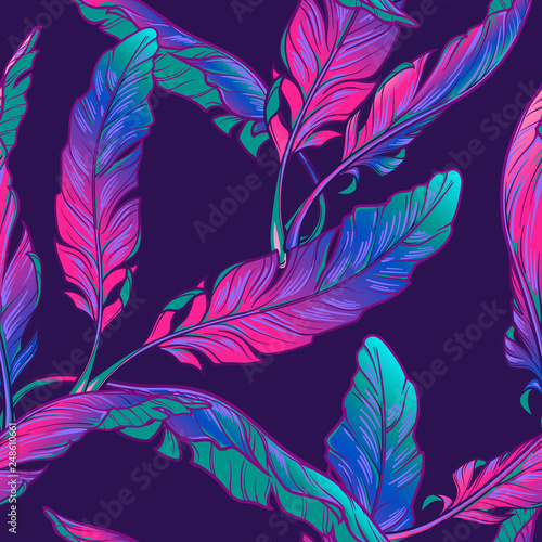 Banana plant leavs on a dark purple background. Tropical jungle. Seamless pattern with Irregular distribution of elements. Trendy 2019 colors. EPS10 vector illustration. © aen_seidhe