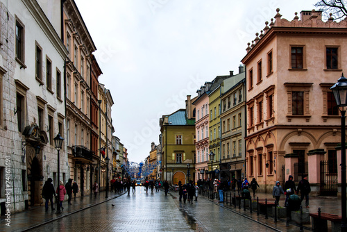 Krakow old town European style architecture on a cloudy day