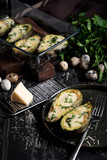 Avocado baked with cheese and quail egg - 248613066