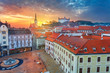 Bratislava. Aerial  cityscape image of historical downtown of Bratislava, capital city of Slovakia during sunset. - 248616076
