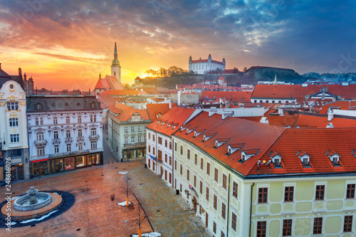 Bratislava. Aerial  cityscape image of historical downtown of Bratislava, capital city of Slovakia during sunset.