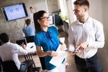 "Постер, картина, фотообои ""Happy creative team in office. Business, startup, design, people and teamwork concept"""