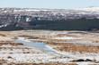 Eislandschaft mit Wald und Berg in Island