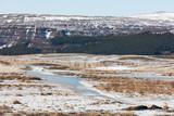 Eislandschaft mit Wald und Berg in Island - 248618266