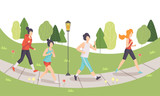 Men and Women Running in Park, People Doing Physical Activities Outdoors, Healthy Lifestyle and Fitness Vector Illustration