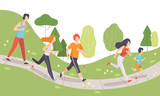 Young Men and Women Running and Jogging in Park, Physical Activities Outdoors, Healthy Lifestyle and Fitness Vector Illustration