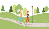 Young Women Running Jogging in Park, Girls Doing Physical Activities Outdoors, Healthy Lifestyle and Fitness Vector Illustration