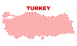 Mosaic Turkey map of valentine hearts in red color isolated on a white background. Regular red heart pattern in shape of Turkey map. Abstract design for Valentine illustrations.