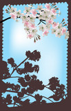 light pink spring blossoming branch in brown frame