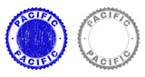 Grunge PACIFIC stamp seals isolated on a white background. Rosette seals with grunge texture in blue and grey colors. Vector rubber stamp imitation of PACIFIC tag inside round rosette. - 248628277