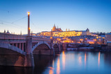 Prague Castle Hill and old town at night