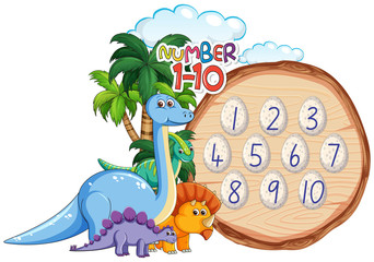 Number to ten dinosaur theme