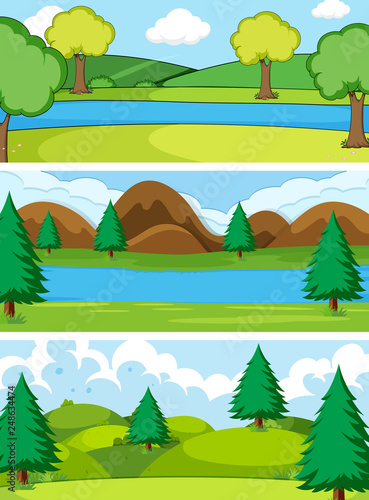 Set of simple nature background