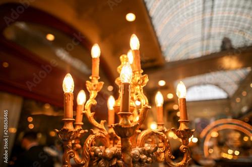 Lightbulbs on an antique candlestick