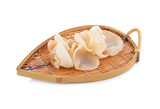 fresh Jew's ear, Wood ear, Jelly ear white mushroom on wooden basket on white background