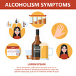 Alcohol addiction symptoms. Danger from alcoholism infographic