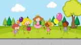 Children celebration in the park