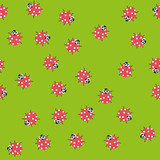 Seamless pattern with Kawaii ladybugs. Vector.