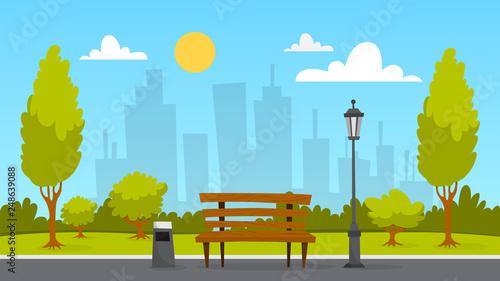 City park landscape. Green grass, bench and trees © artinspiring
