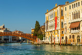Bridge Ponte dell Accademia in Venice with the view of Grand Canal and Palace called Palazzo Cavalli-Franchetti