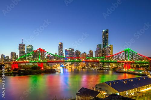 brisbane with story bridge in australia at night