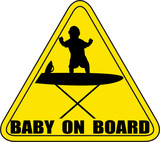 Baby On Board ironing board Silhouette Sign No Background