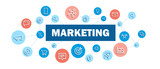 MARKETING blue and coral concept banner with network of icons