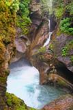 Waterfall of Leiternkammerklamm gorge at Wild Gerlostal valley Austria