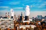 coal fired power station with cooling towers - 248655041