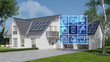 Leinwandbild Motiv House with solar system and smart home technology