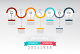 Infographic Web Design with Paper Cut Circles, Sample Text and Icons. Data Flow Infographics Vector Layout. - 248658494