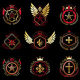 Set of vector vintage emblems created with decorative elements like crowns, stars, bird wings, armory and animals.  Collection of heraldic coat of arms. - 248658624