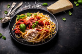 delicious appetizing classic spaghetti pasta with tomato sauce, parmesan - 248661488
