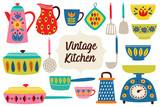 set of isolated vintage kitchen utensils part 2 - vector illustration, eps - 248662270
