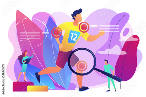 Athlete running and tiny people physicians treating injuries. Sports medicine, sports medical services, sports physician specialist concept. Bright vibrant violet vector isolated illustration