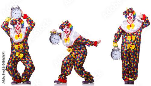 Leinwanddruck Bild Funny male clown with alarm-clock